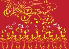 Marco con las mariposas y las flores Libre Illustration