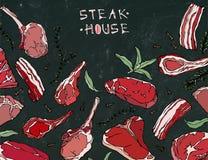Marco con los productos de carne Menú o carnicero Shop Template del restaurante Filete de carne de vaca, cordero, costilla de cer libre illustration