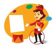 Marco contento para la hospitalidad: Señora atractiva del circo Fotografía de archivo libre de regalías