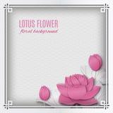Marco cuadrado chino abstracto con el fondo floral, loto rosado Imagen de archivo libre de regalías