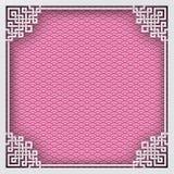 Marco cuadrado chino en el fondo oriental del modelo rosado para el gre Fotos de archivo