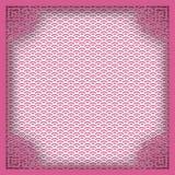 Marco cuadrado chino en el fondo oriental del modelo rosado para el gre Imágenes de archivo libres de regalías