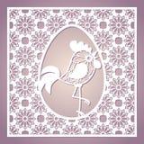 Marco cuadrado a cielo abierto con el huevo y el gallo de Pascua Plantilla de corte del laser stock de ilustración