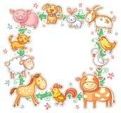Marco cuadrado con los animales del campo lindos de la historieta stock de ilustración