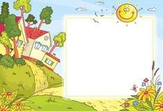 Marco cuadrado con paisaje del campo stock de ilustración