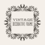 Marco cuadrado de la frontera del vintage del vector con el modelo retro del ornamento Foto de archivo libre de regalías