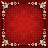 Marco cuadrado de la joyería del oro en fondo rojo ilustración del vector