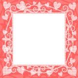 Marco cuadrado de los corazones rosas claros Imagen de archivo libre de regalías