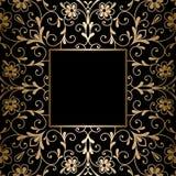 Marco cuadrado del oro en negro stock de ilustración