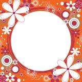 Marco cuadrado floral en naranja Imagenes de archivo