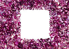 Marco cuadrado hecho de muchos pequeños diamantes de rubíes Imágenes de archivo libres de regalías