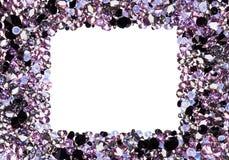 Marco cuadrado hecho de muchos pequeños diamantes púrpuras Fotos de archivo libres de regalías