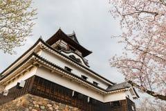 Marco da construção histórica do castelo de Inuyama na mola com cereja Imagem de Stock Royalty Free