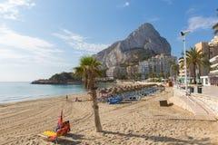 Marco da rocha de Ifac do ` de Costa Blanca Penyal d da Espanha de Calpe da praia da fossa do La de Levante Imagens de Stock Royalty Free