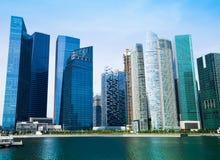 Marco da skyline em Marina Bay de Singapura Curso Imagens de Stock Royalty Free