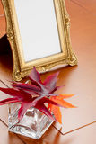 Marco de Autumn Leaves y de la foto Fotografía de archivo libre de regalías