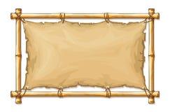 Marco de bambú con el paño rasgado viejo de la materia textil stock de ilustración
