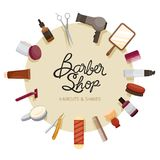 Marco de Barber Shop Accessories On Circle Imágenes de archivo libres de regalías