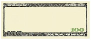 Marco de Bill Front de 100 dólares para el diseño aislado en blanco imágenes de archivo libres de regalías