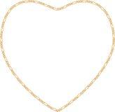 Marco de cadena del corazón del oro Fotografía de archivo