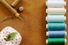 Marco de costura de las herramientas del vintage Fotografía de archivo