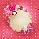 Marco de encaje del día del ` s de la tarjeta del día de San Valentín Imagenes de archivo