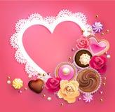 Marco de encaje del día del ` s de la tarjeta del día de San Valentín Fotos de archivo libres de regalías