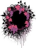 Marco de Grunge con las uvas stock de ilustración