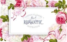 Marco de jardín romántico stock de ilustración