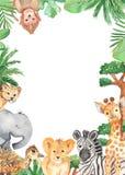 Marco de la acuarela con los animales lindos de la historieta de África stock de ilustración