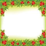 Marco de la baya del acebo de Navidad Imagen de archivo