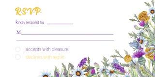 Marco de la boda de flores salvajes watercolor centro de flores Diseño de la plantilla de la tarjeta de felicitación Fondo de la  libre illustration