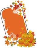 Marco de la calabaza de Grunge víspera de Todos los Santos con las hojas de otoño Imagenes de archivo