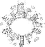 Marco de la ciudad de la elipse stock de ilustración
