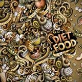 Marco de la comida de la dieta de los garabatos del vector de la historieta Imágenes de archivo libres de regalías