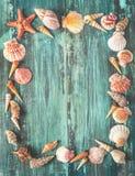 Marco de la concha marina y de las estrellas de mar en fondo de madera Foto de archivo