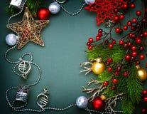Marco de la decoración de la Navidad Imagenes de archivo