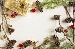 Marco de la decoración de la Navidad con los conos del pino Fotografía de archivo libre de regalías