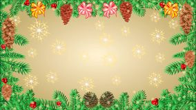 Marco de la Feliz Navidad del árbol de navidad de las ramas con los conos de la cinta y del pino video libre illustration