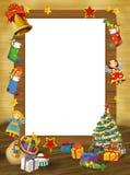 Marco de la feliz Navidad - frontera - ejemplo para los niños Fotografía de archivo