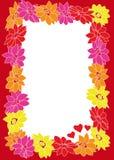 Marco de la flor con los corazones Foto de archivo libre de regalías