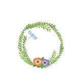 Marco de la flor en un estilo de la acuarela aislado Foto de archivo libre de regalías