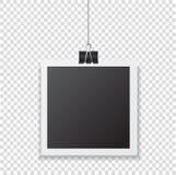Marco de la foto con la ejecución de la sombra con el clip de papel Sn de la casilla negra Imagen de archivo libre de regalías
