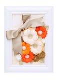 Marco de la foto con la flor de papel Fotos de archivo libres de regalías