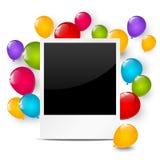 Marco de la foto del cumpleaños con los globos Imagenes de archivo