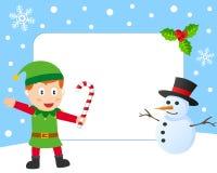 Marco de la foto del duende de la Navidad stock de ilustración
