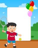 Marco de la foto del muchacho del tenis Foto de archivo libre de regalías