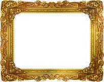 Marco de la foto del oro con la línea de la esquina de Tailandia floral para la imagen Foto de archivo