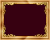 Marco de la foto del oro con la línea de la esquina de Tailandia floral para la imagen, estilo del modelo de la decoración del di Fotos de archivo libres de regalías