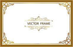 Marco de la foto del oro con la línea de la esquina de Tailandia floral para la imagen, estilo del modelo de la decoración del di Fotografía de archivo
